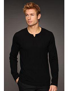 John Varvatos Merino Sweater w/ Leather Elbow Patches