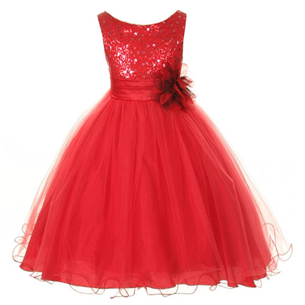 18211bd50 Flower Girl Dress - Red Sequin Double Mesh Special Occasion Dress ...