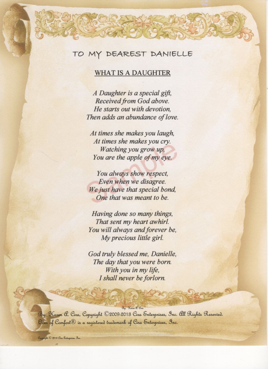 Five Stanza What Is A Daughter Poem Shown On Poetry Daughter