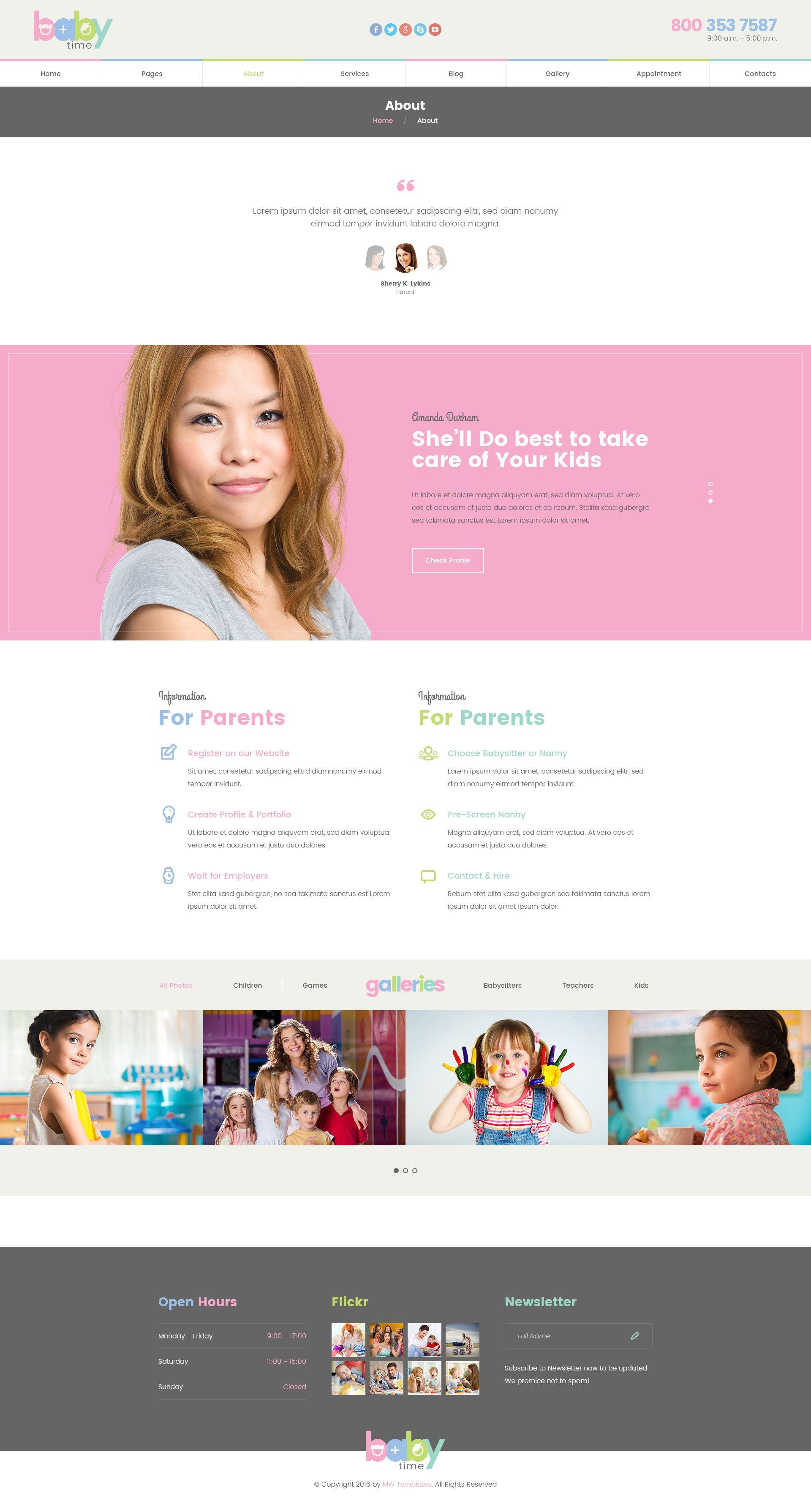 babytime babysitter nurse and preschool education psd template