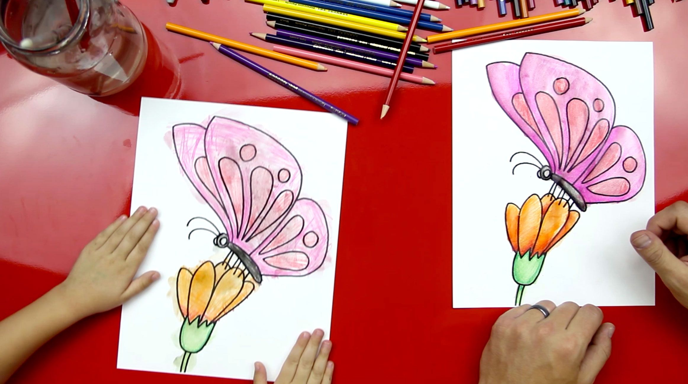 How To Color A Butterfly With Watercolor Pencils Art For Kids Hub Art For Kids Hub Art Lessons Painting For Kids