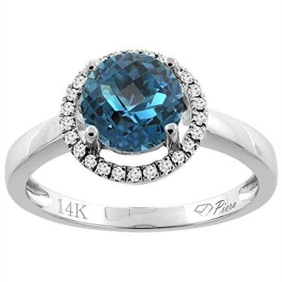 14K White Gold Natural London Blue Topaz Ring Round 7 mm Diamond Accents, size 5