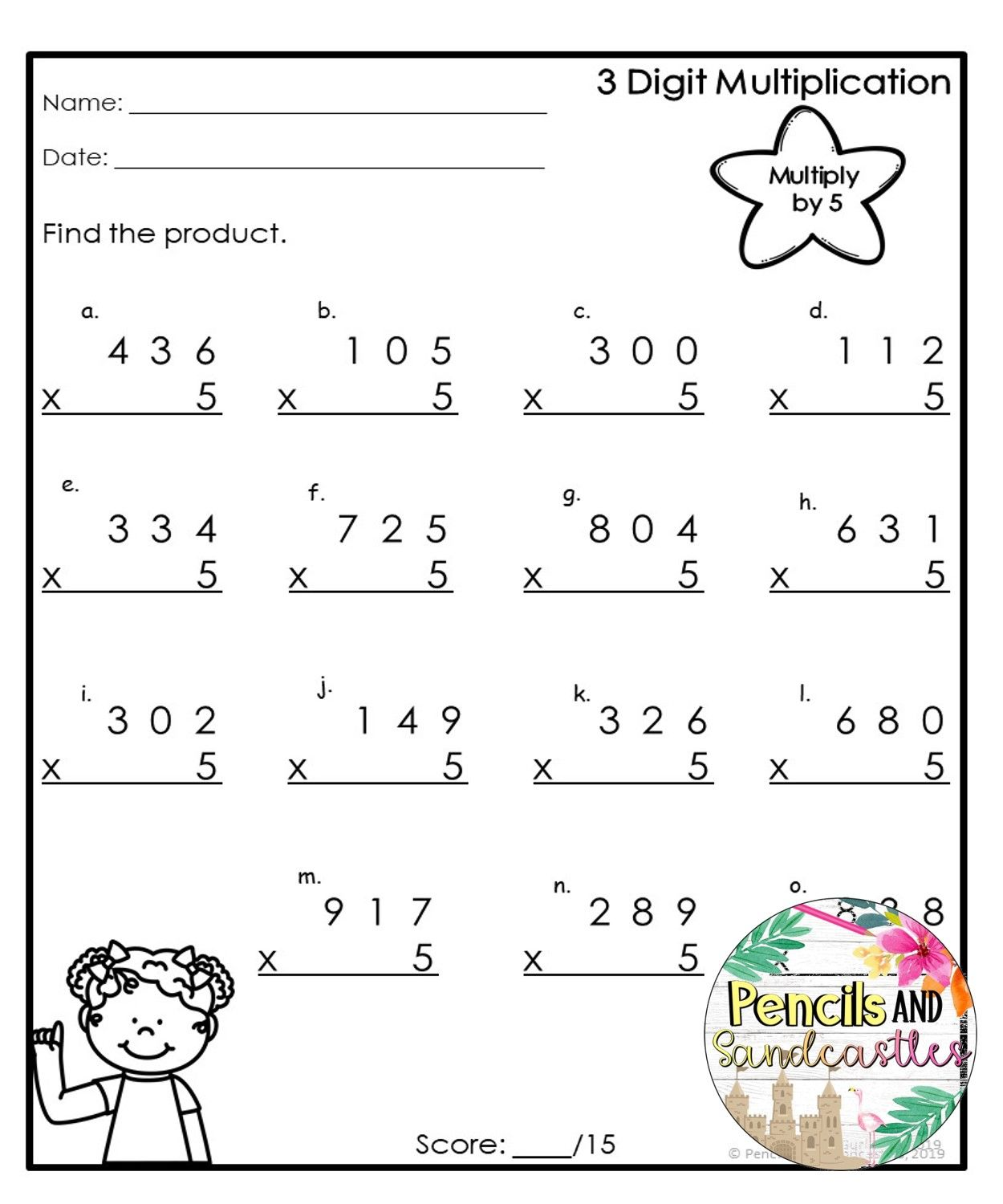 Multiplication Worksheets Print And Go 3digts By 1 Digit