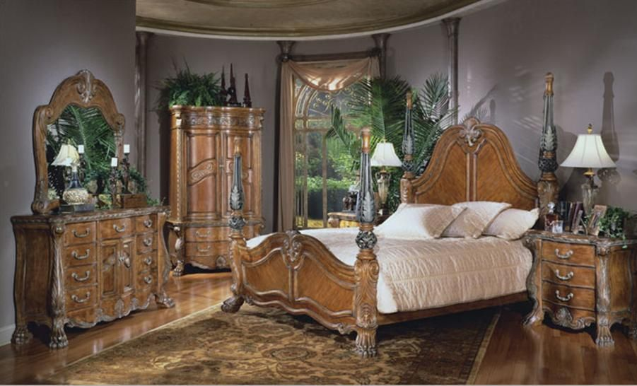 Aico Furniture Paradisio 7 Piece Poster Bedroom Set | MonsterMarketplace.com
