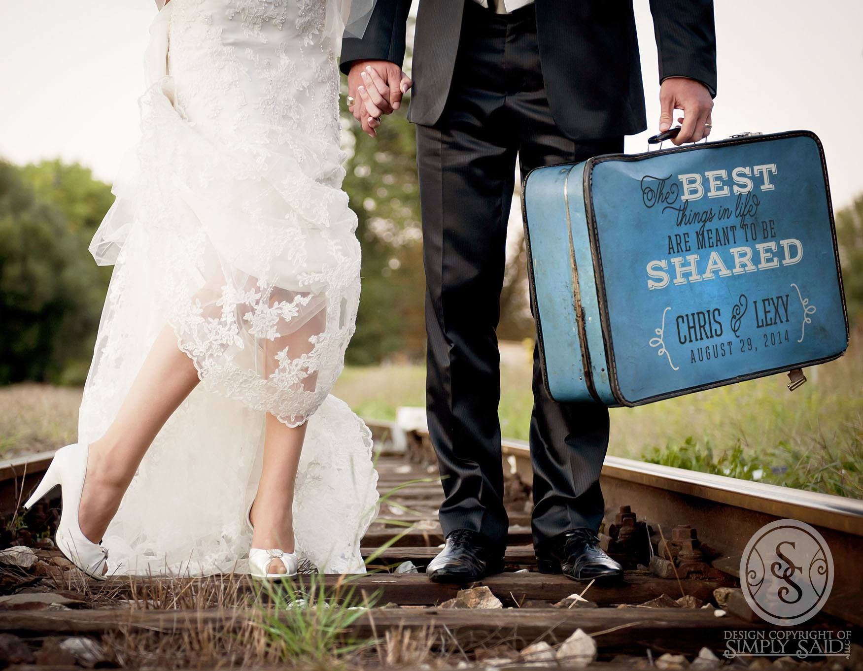 Want to make your wedding pictures a thing to remember, use our vinyl designs on an old suitcase for a nice traditional meets rustic look.  Available at www.mysimplysaiddesigns.com/kraftycam/