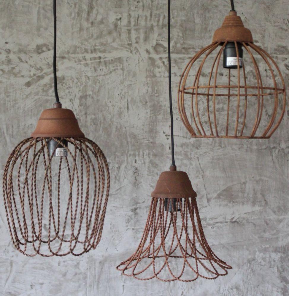 3er Set Hange Lampen Vintage Loftlampe Fabrik Deckenlampe Rost Hangelampe Shabby Retro Lampe Deckenlampe Shabby