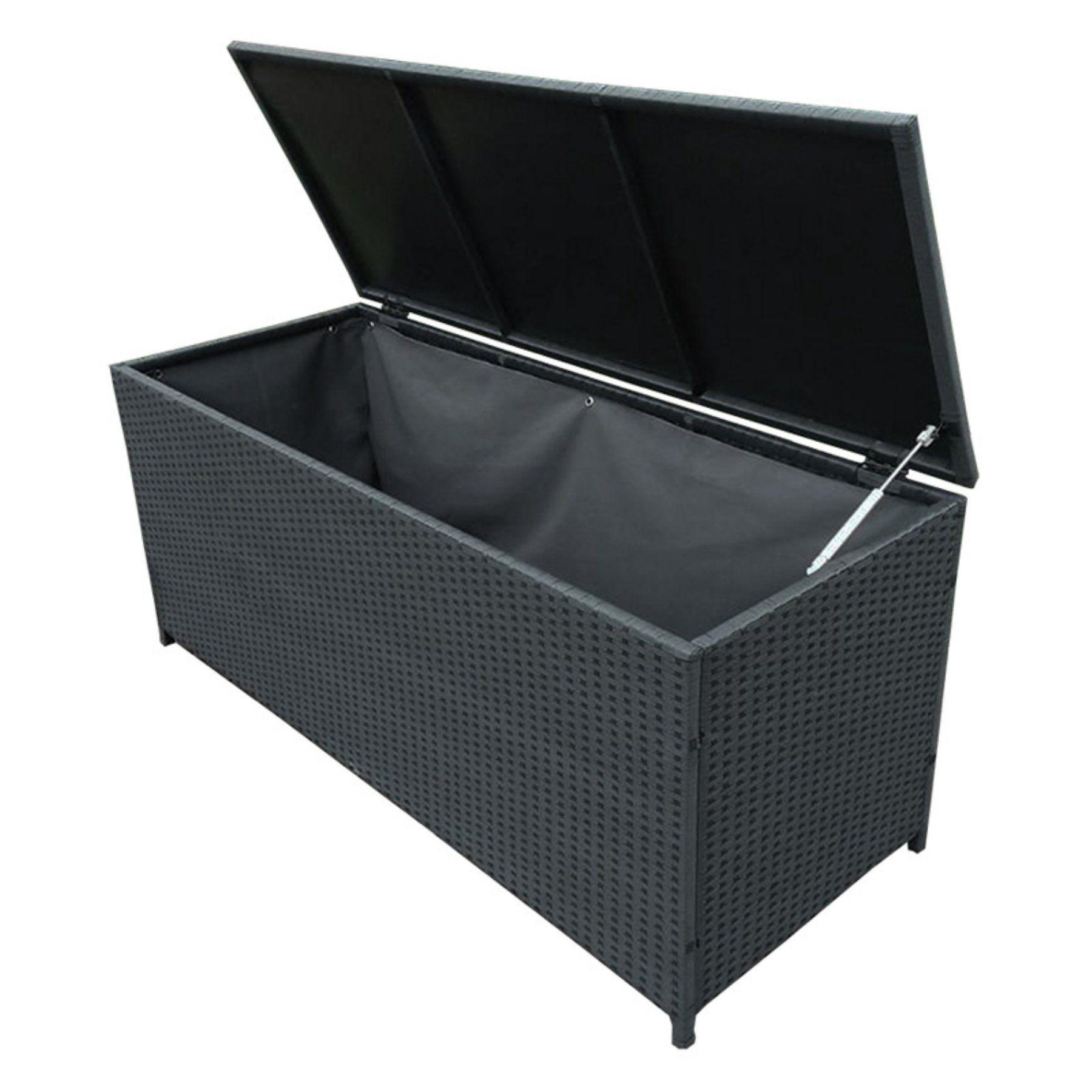 Oakland Living 113 Gallon Indoor Outdoor Wicker Deck Box Black