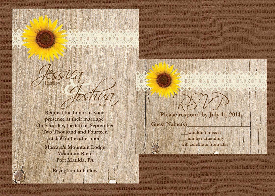 Rustic wedding invitation sunflower wedding invitation lace