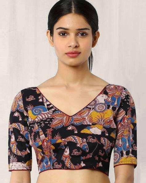 3da34b11863416 Kalamkari Print Back Open Blouse in 2019   Indian fashion   Blouse ...