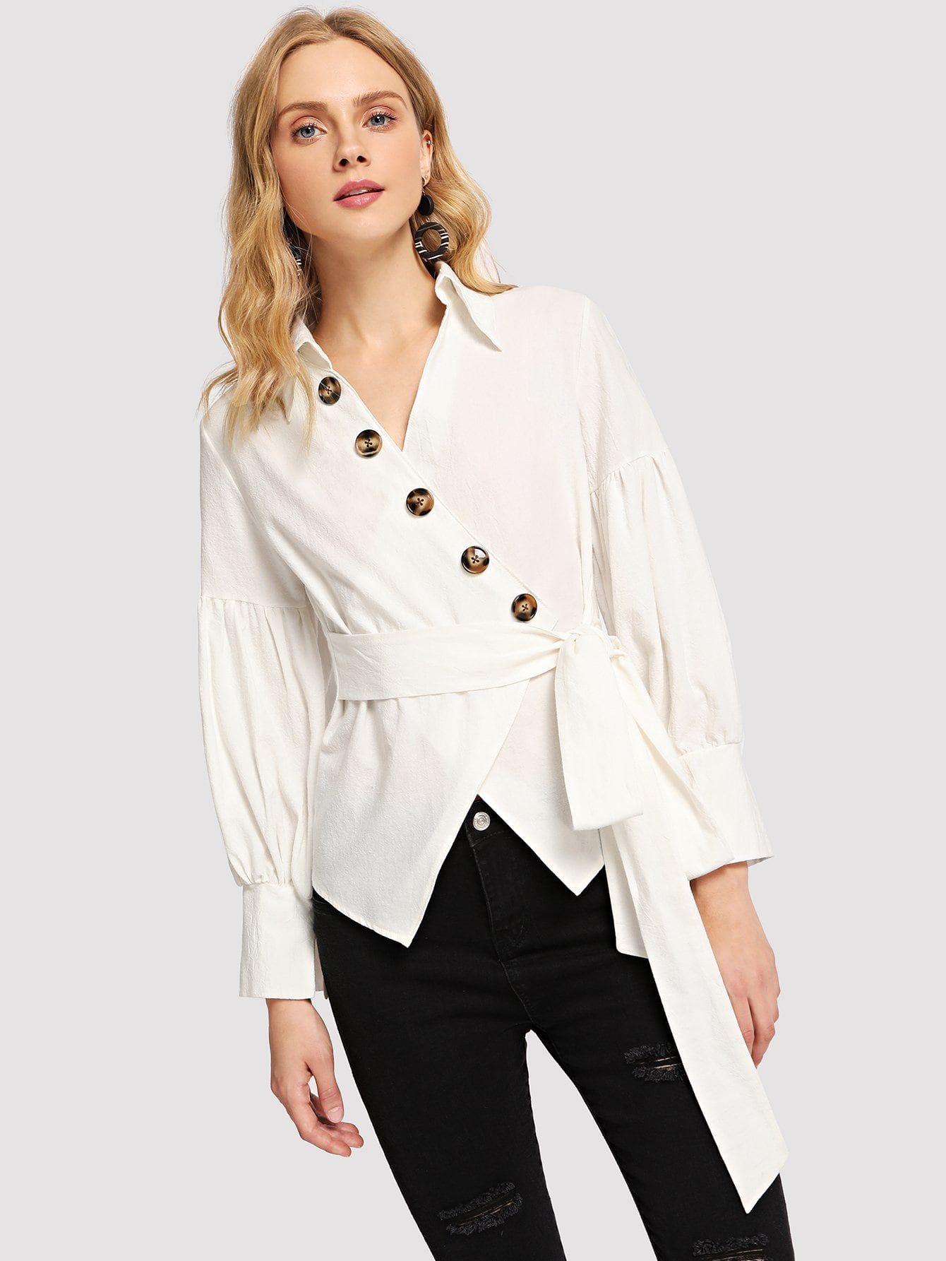Womens Rust Button V-Neck Front Frill Hem /& Sleeve Top Blouse
