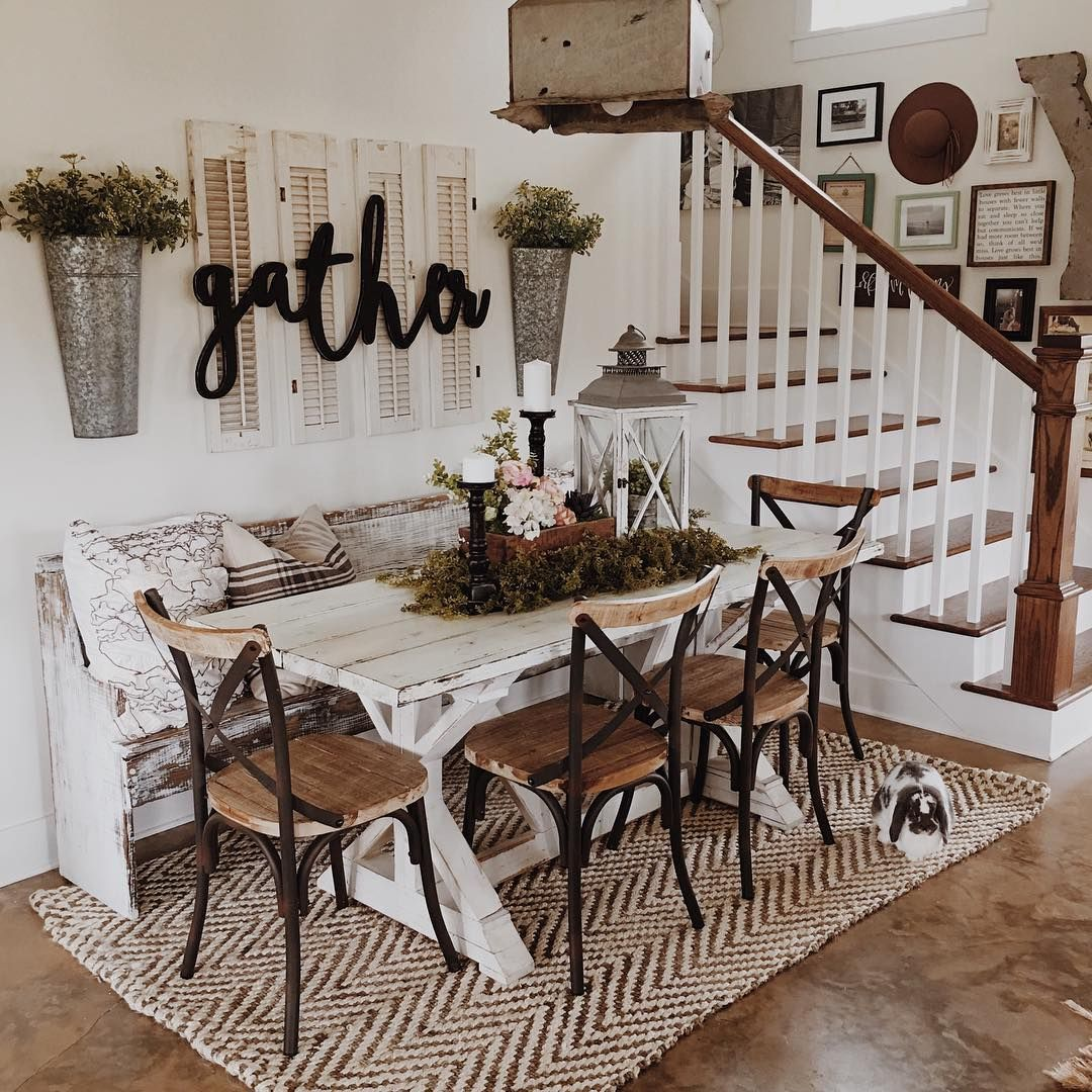I Like The Placement Of This Table By The Staircase The Bench Makes It Great Modern Farmhouse Dining Farmhouse Dining Room Table Modern Farmhouse Dining Room