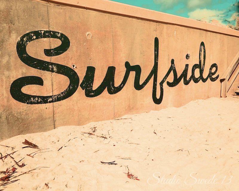 Beach Print Florida Wall Art Surfside Rustic Decor Word