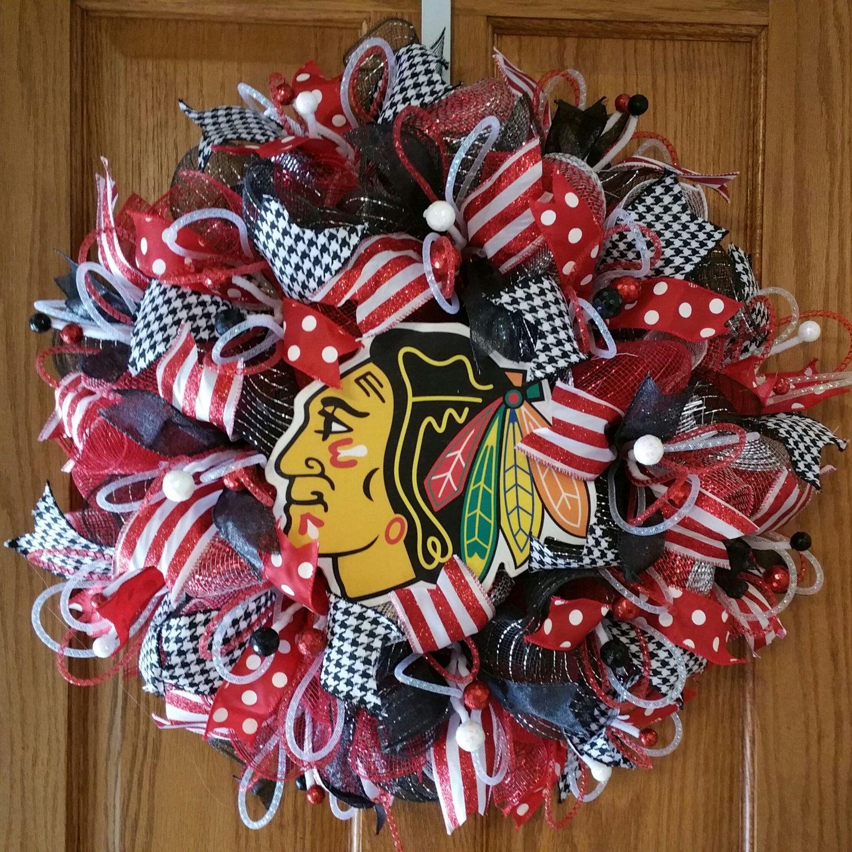 Chicago Blackhawks deco mesh wreath wall decor Large