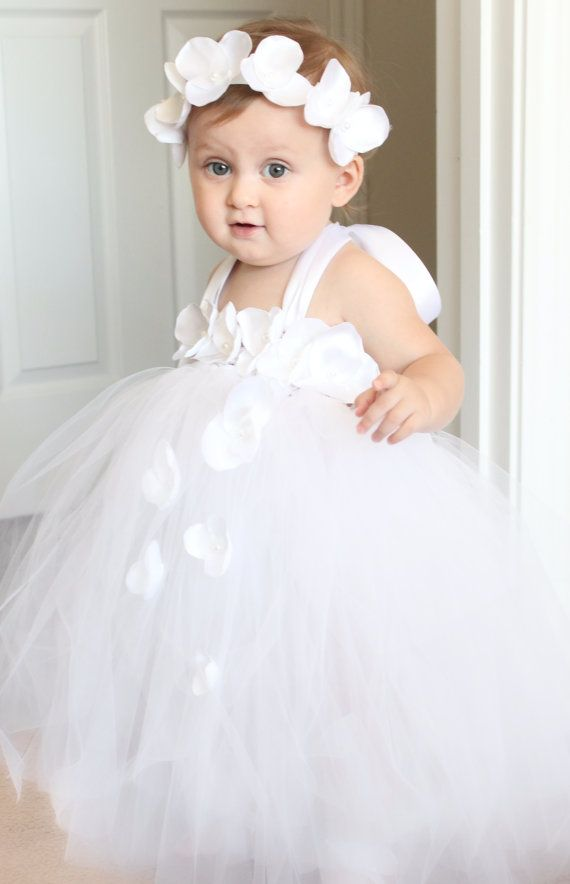 7a9b843dad Beautiful white tutu dress for 6-18 month old baby girl. Great as photo  prop
