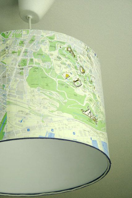Collage map lampshade