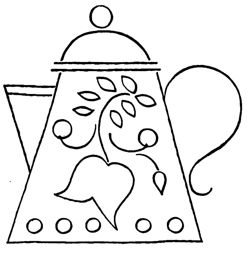 Teapot colouring pages page 3