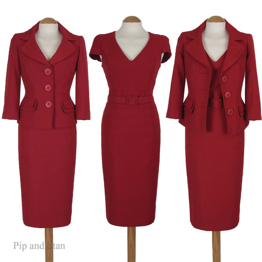 Size 8 Next Red 3 Piece Shift Dress Pencil Skirt Suit 1950s 50s