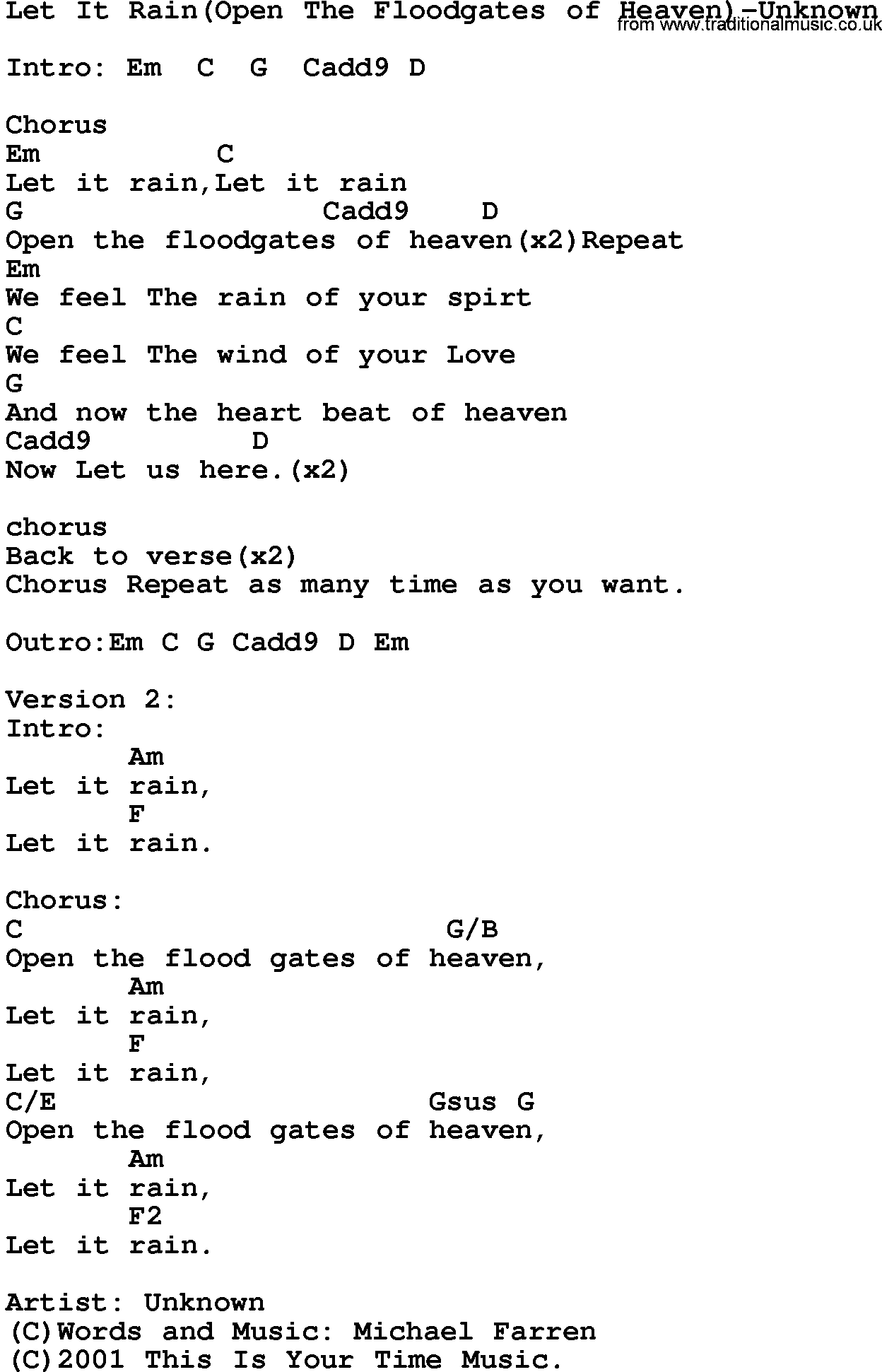 Open The Floodgates Of Heaven Chords Google Search