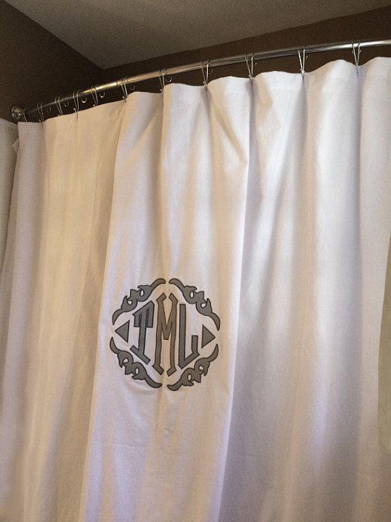 Applique Monogrammed Shower Curtain Shower Curtain Monogram
