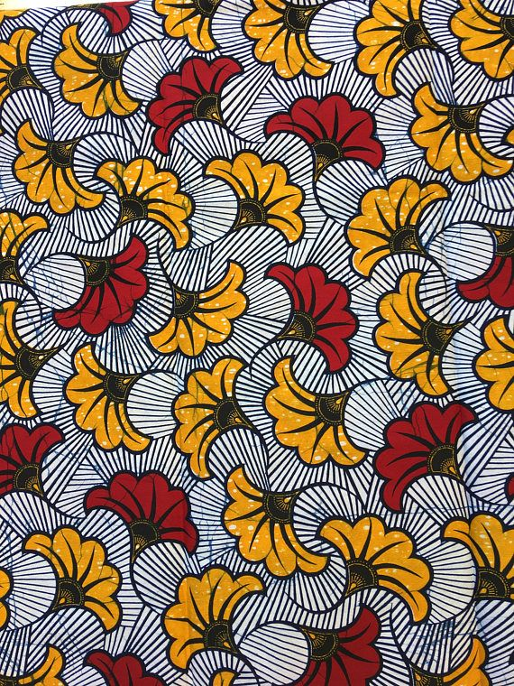 African Wax Fabric Genuine Vlisco Wedding Flowers Red Yellow