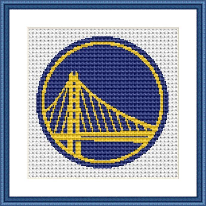 Golden State Warriors Logo Cross Stitch Pattern Basketball Nba Team Emblem Easy Simple Beginner Embroidery Gift For Him Boyfriend Husband In 2020 Golden State Warriors Logo Cross Stitch Patterns Cross Stitch