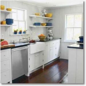 Open shelves with fiesta ware! | me some FIESTA WARE ... on open galley kitchen remodel, white galley kitchen design ideas, walk in closet design ideas, stove kitchen design ideas,