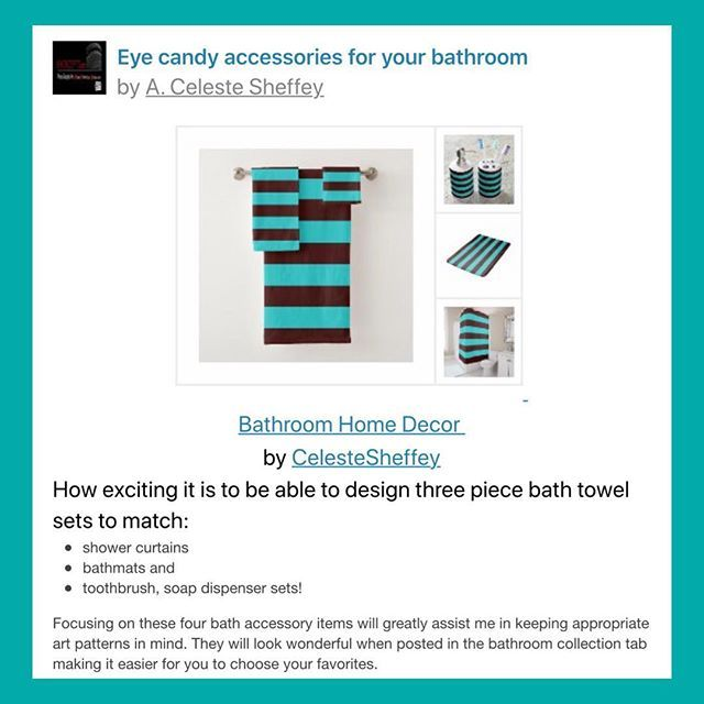 So excited to add bathroom towel sets as home decor accessories to my shop! Click link in bio to view a variety of designs. 😊 . #bathroomdecor #stripes #homedecor #artkhoncepts #zazzle