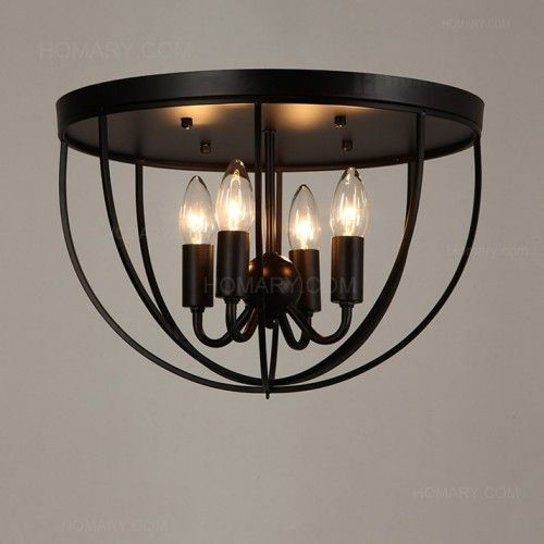 Designed for adding a touch of rustic elegance to your home decor designed for adding a touch of rustic elegance to your home decor this black metal round cage semi flush mount ceiling light will coordinate nicely with mozeypictures Image collections