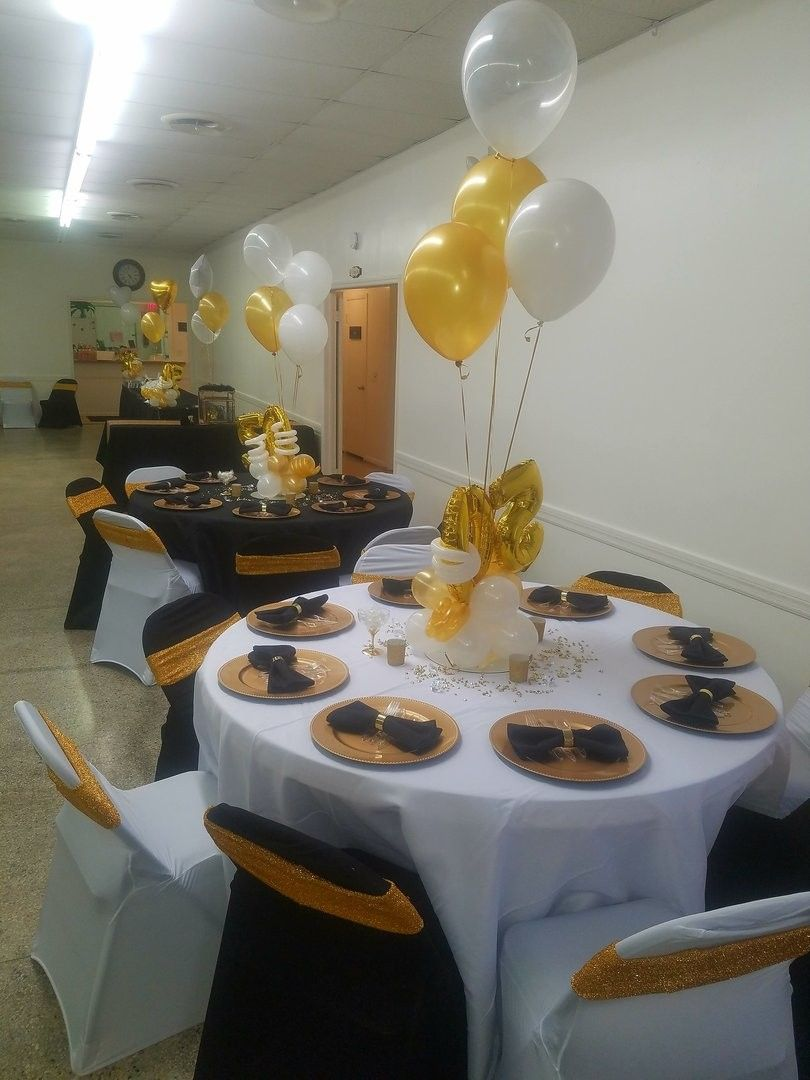 Black Cream Tables 50th Birthday Party Decorations 60th