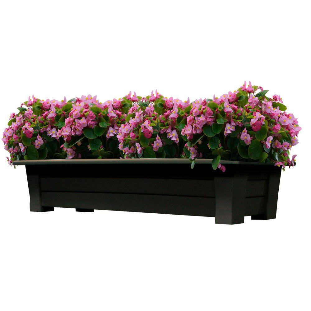 Adams Manufacturing 36 In X 15 In Earth Brown Resin Deck Planter