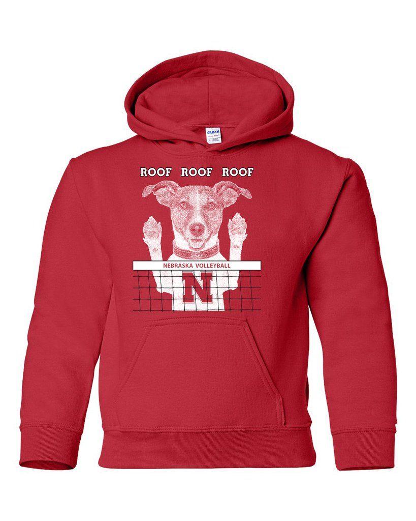 Nebraska Husker Volleyball Spike Dog Roof Roof Roof Youth Hooded Sweatshirt Nebraska Huskers Hooded Sweatshirts Husker