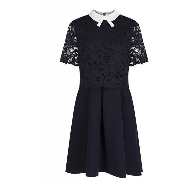 7d90d47b1258f0 Ted Baker Women s Dixxy Lace Bodice Double Layer Dress Navy ( 235) ❤ liked  on Polyvore featuring dresses