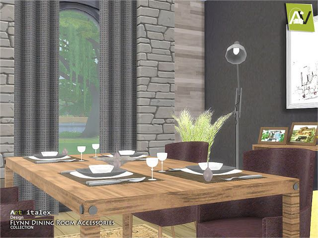 Flynn Dining Room Accessories Found In TSR Category Sims 4 Sets