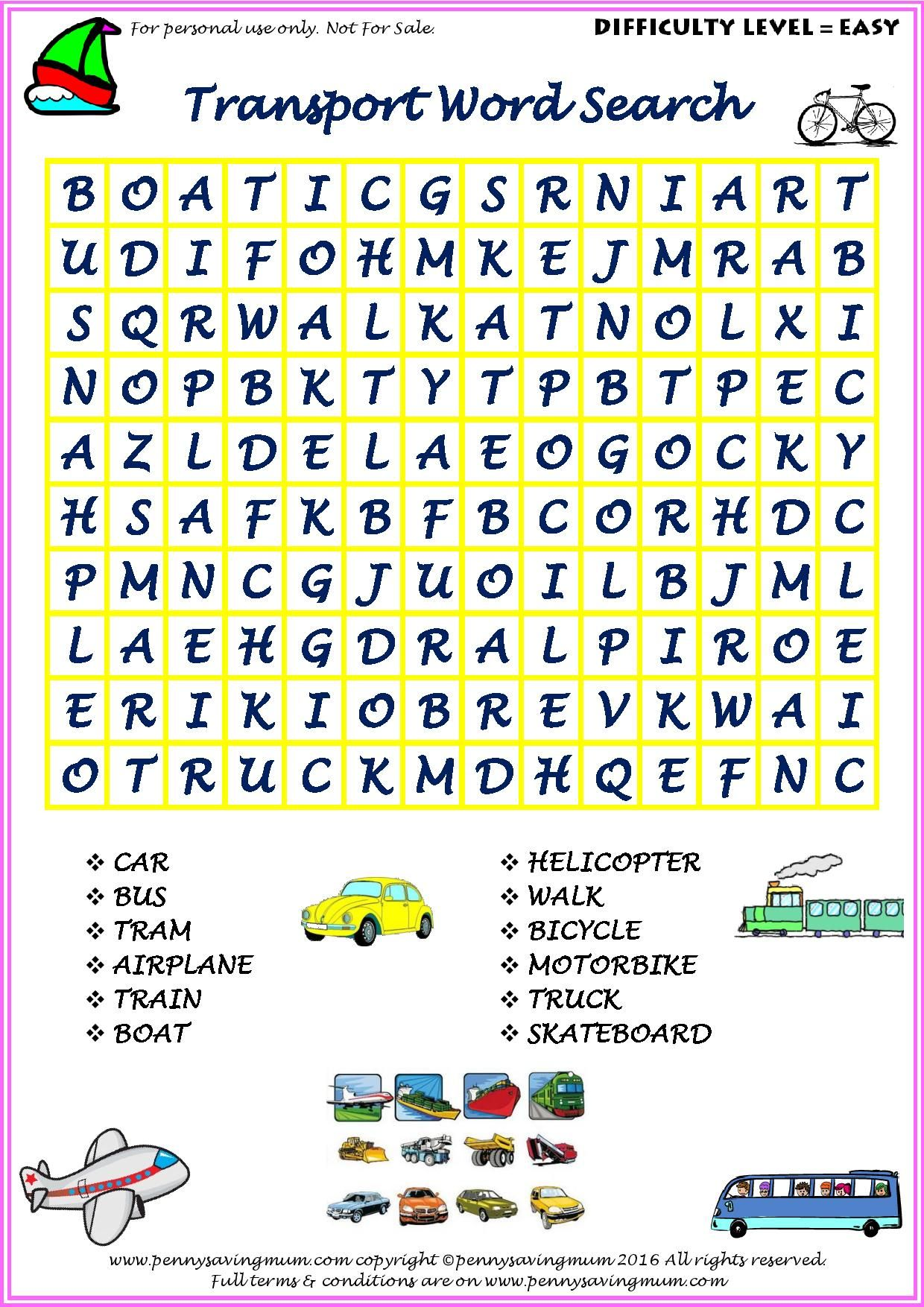 Word Search Transport Easy Version