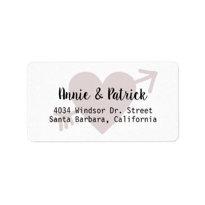 Bride  Groom Love Heart Mailing Return Address Label  Return