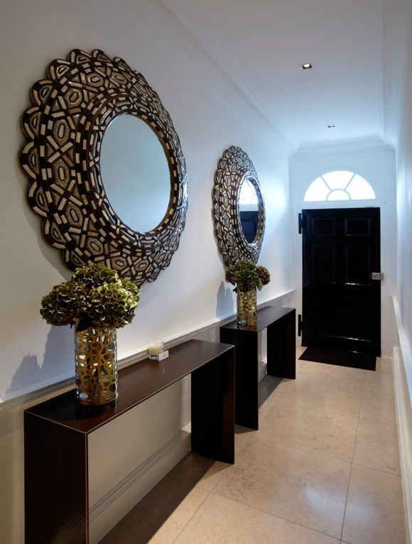 Dramatic Pair Of Mirrors In A Long Narrow Entrance Hall
