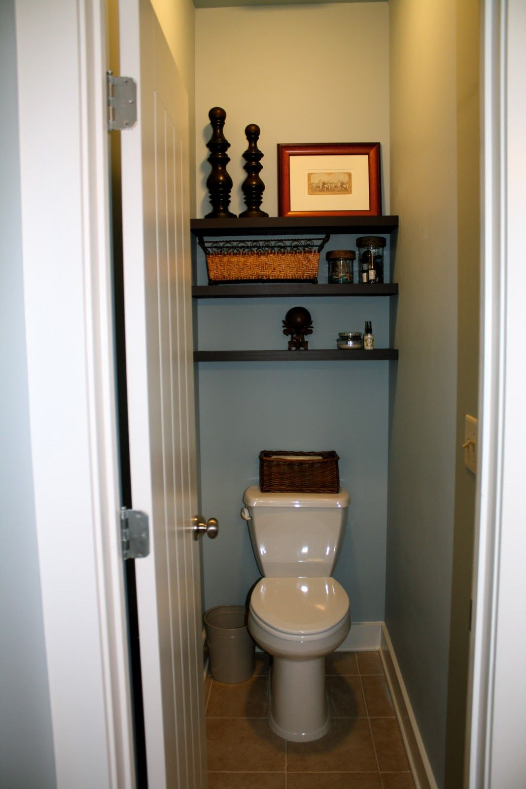 Wood shelves above toilet shelves above the toilet in Over the toilet design ideas