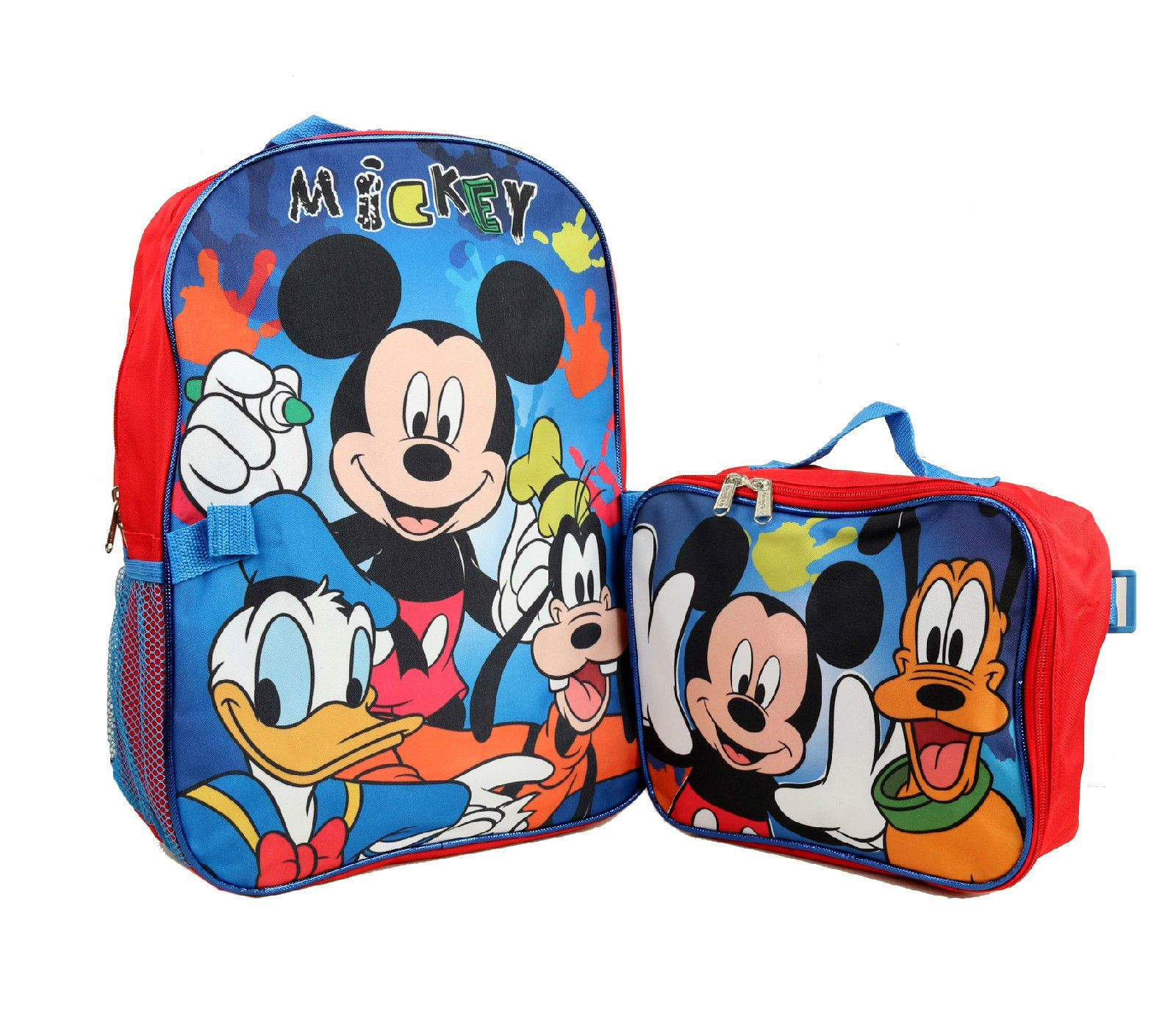 """Disney 16/"""" Mickey Mouse And Frineds Backpack School  Bag w// Lunch Bag"""