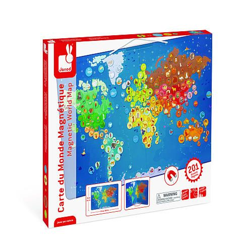 Janod Magnetic Animal World Map Magnetic Puzzle Janod Toys R - Magnetic map of us