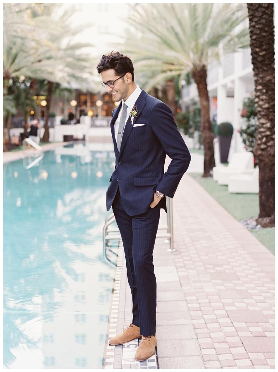 Groom Style Modern Navy Pinstripe Suit By J Crew Photographed At The National Hotel In Miami Beach Gianny Campos Photography