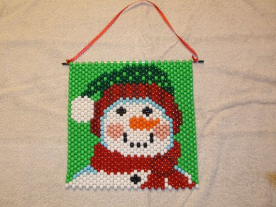 Santa Amp Snowman Beaded Banner Wall Hanging By Dolfan1370