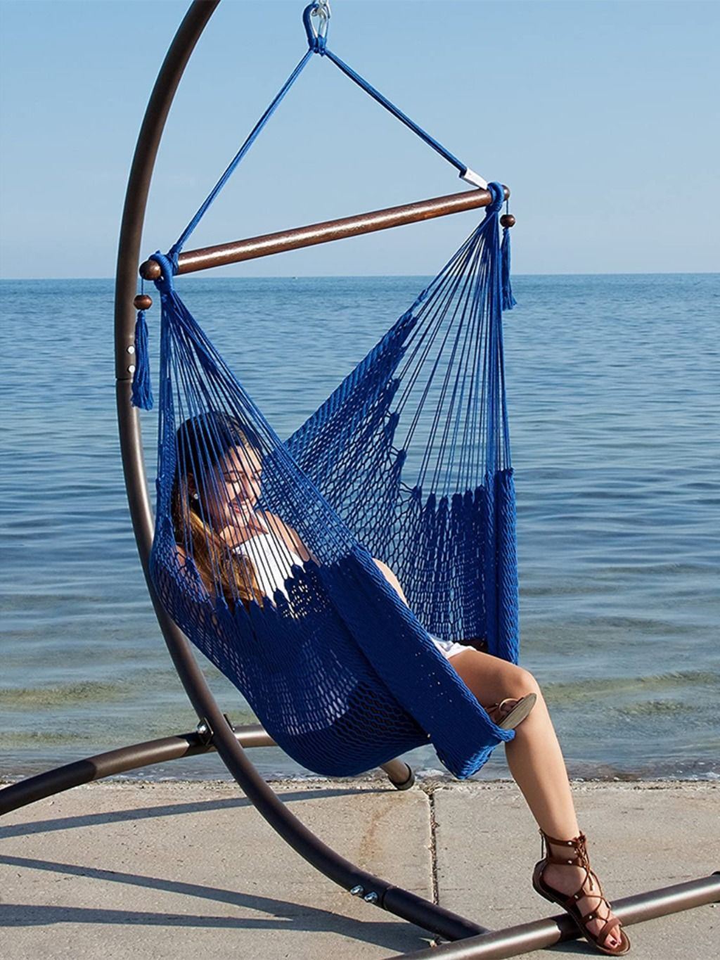Hammocks Chair With Footrest In 2020 Hammock Chair Hanging Chair Outdoor Rope Hammock Chair