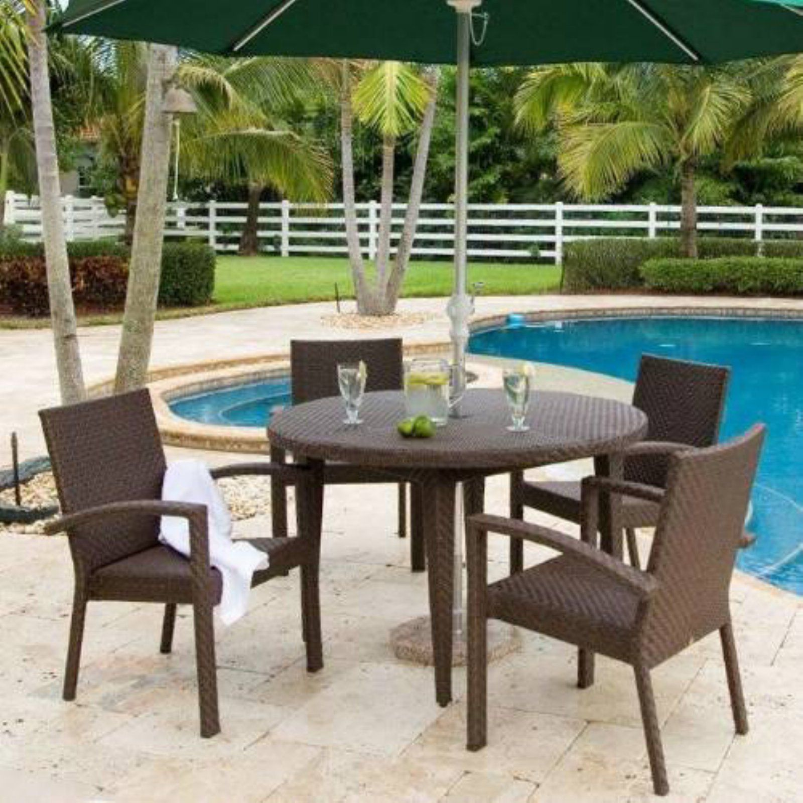Awesome Outdoor Hospitality Rattan Soho 5 Piece Patio Dining Set Home Remodeling Inspirations Propsscottssportslandcom