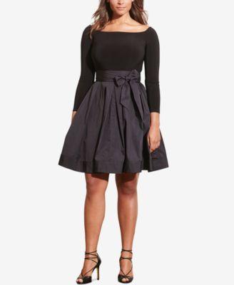 61e1ce880db1 Lauren Ralph Lauren Plus Size Jersey-Taffeta Dress
