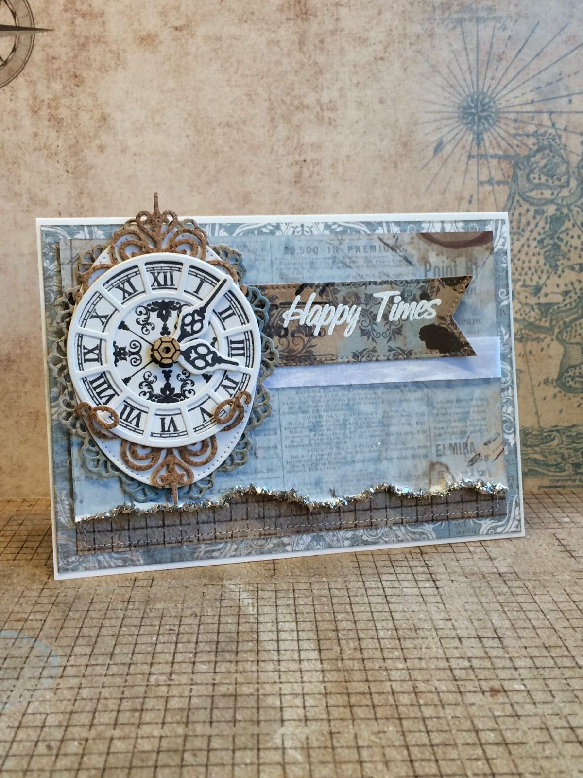card MFT clock Happy times - #clock - card with clock - Timeless stamp set MFT dienamics Time Pieces die set