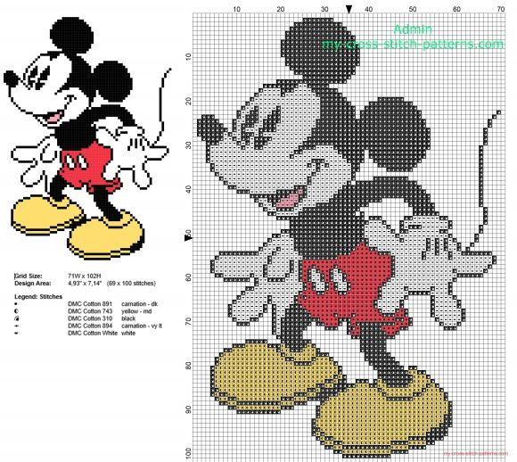 Disney Mickey Mouse sonríe patron punto de cruz 69 x 100 puntos 5 ...