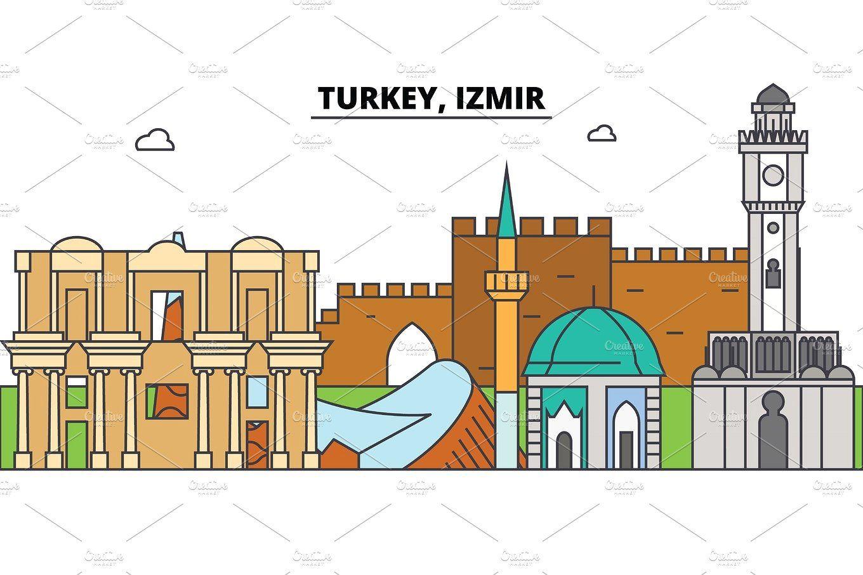Turkey Izmir Outline Skyline Turkish Flat Thin Line Icons Landmarks Illustrations Turkey Izmir Cityscape Turkish Travel City Vector Banner Urban Silhoue City Vector Line Icon Urban Icon