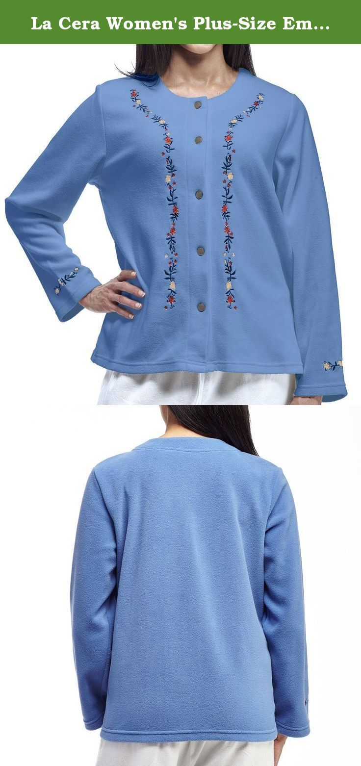 fa21abf75418c You ll feel both comfortable and stylish in these bed jackets!. La Cera  Women s Plus-Size Embroidered Fleece ...