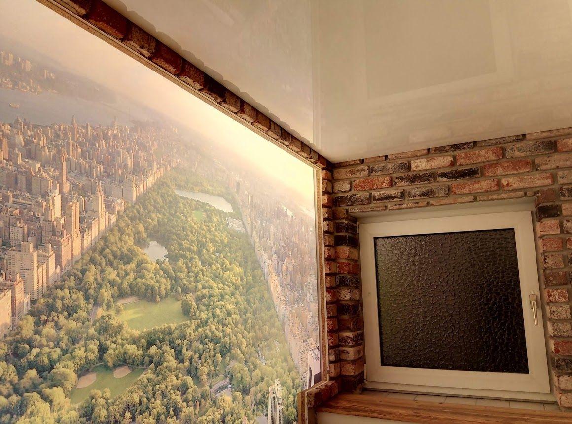 Neugestaltung Gaste Wc Hinterleuchtete Spanndecke Als Bild New York Central Park Die Wand Wurde Mit Echten Ziegelstein Klin Spanndecken Ziegelsteine Gaste Wc