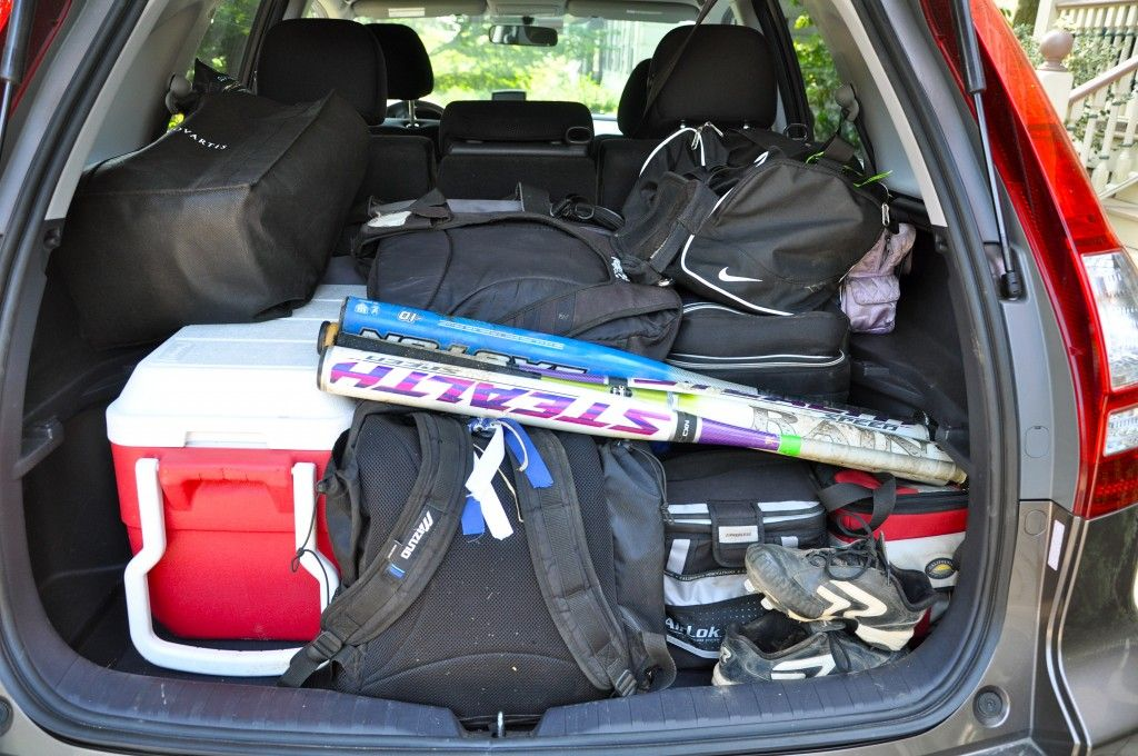 Crv Packed With Softball Gear Softball Tournaments Softball Baseball Tournament